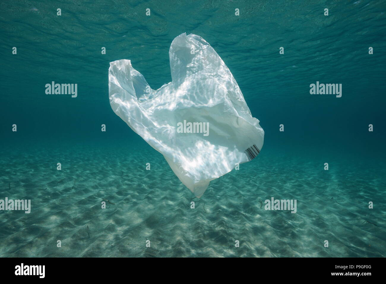 Plastic Waste In The Mediterranean Sea Stock Photos