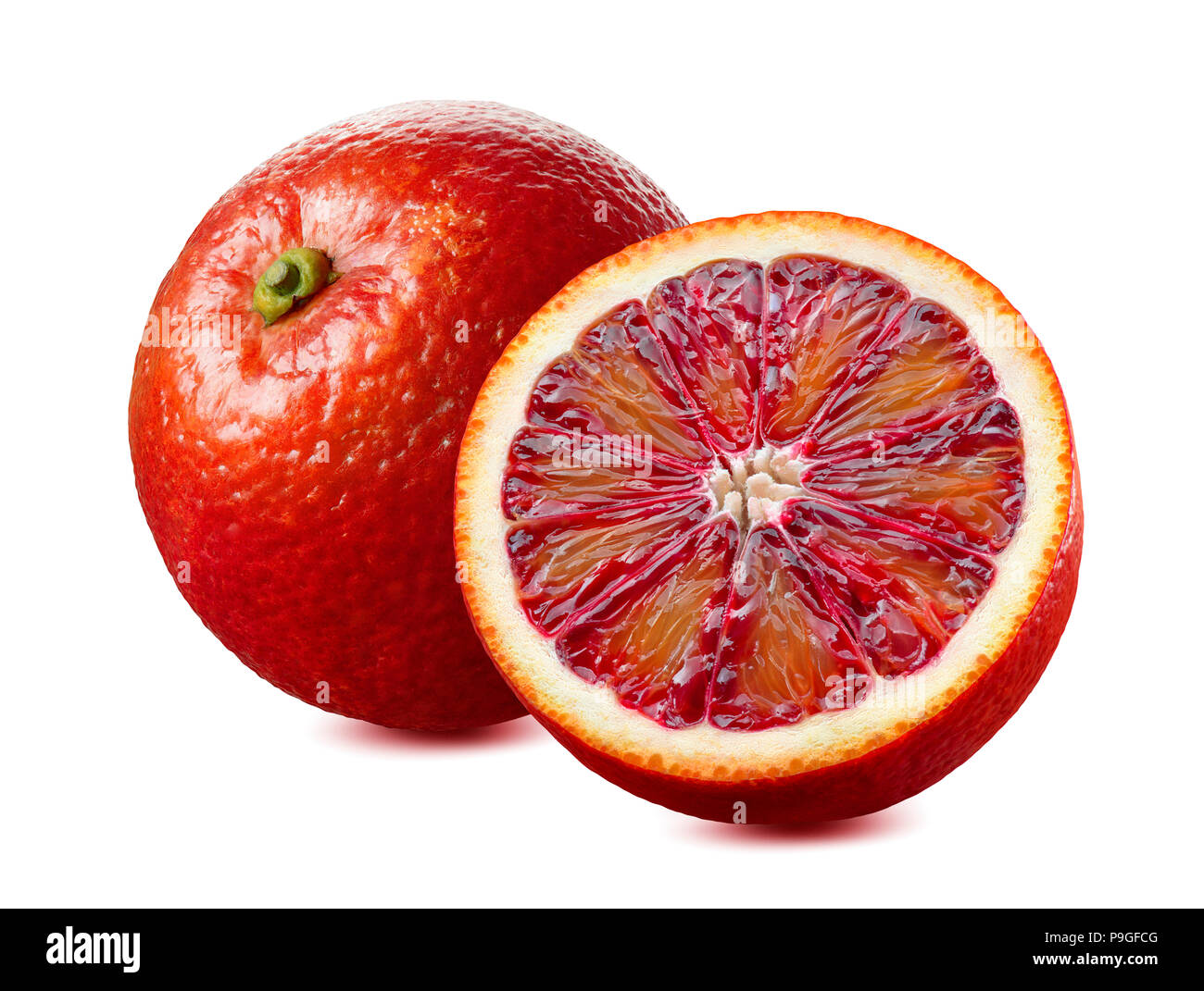 Whole red blood orange and half isolated on white background as package design element - Stock Image
