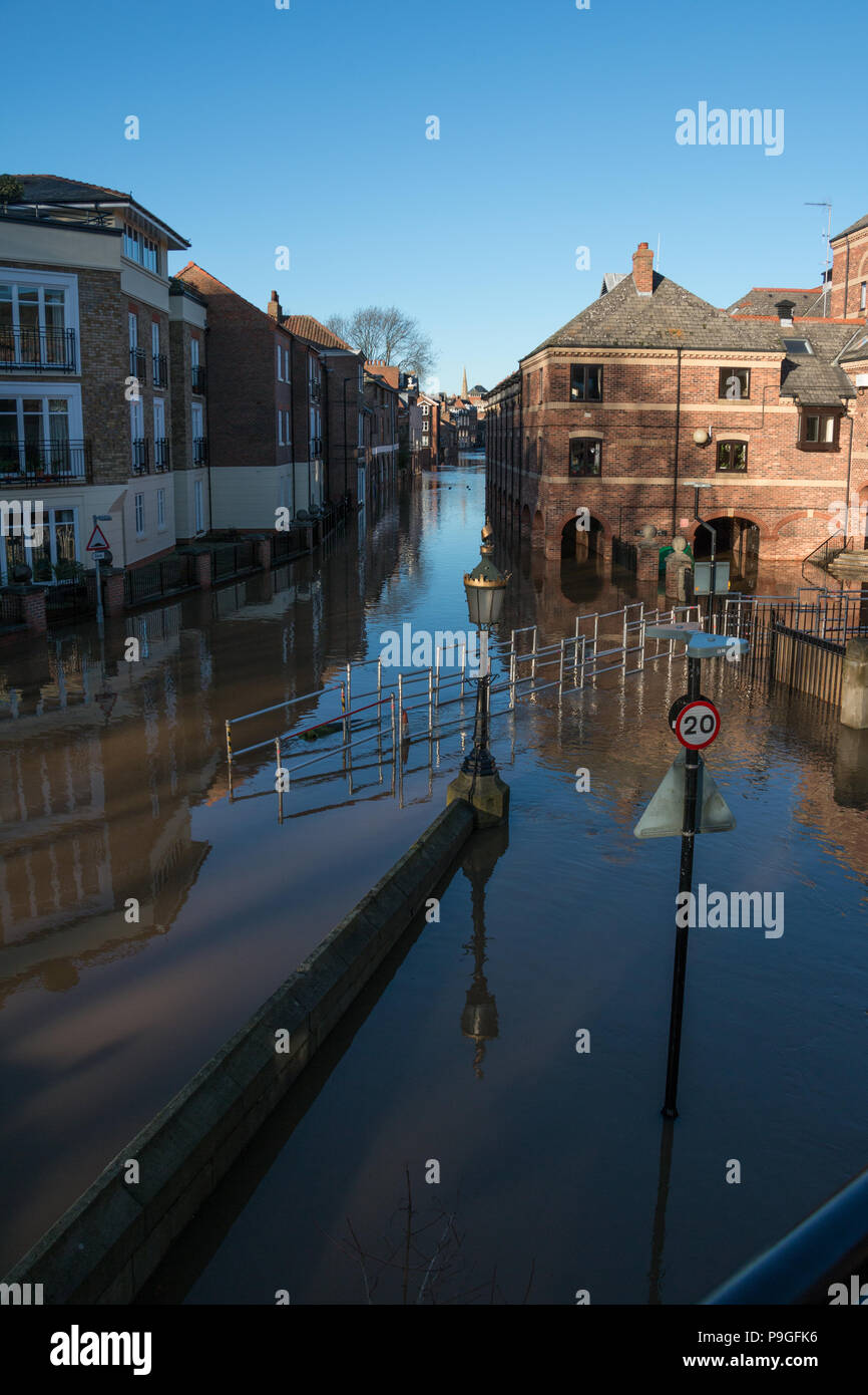 Looking down the flooded streets of Skeldergate in York, North Yorkshire during Christmas 2015 Stock Photo
