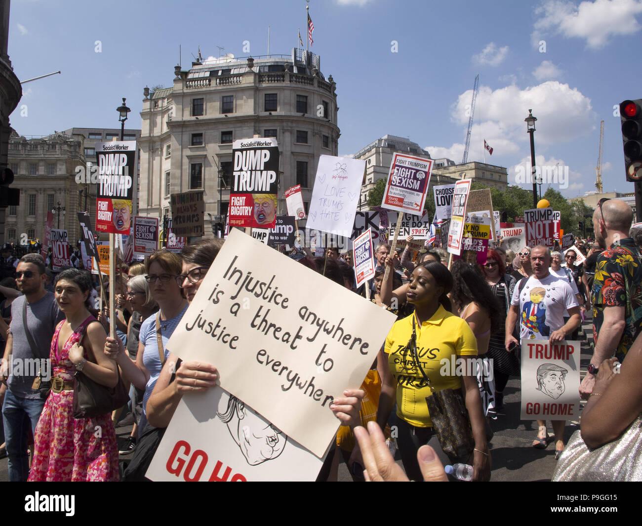 Anti Trump Demonstration. - Stock Image