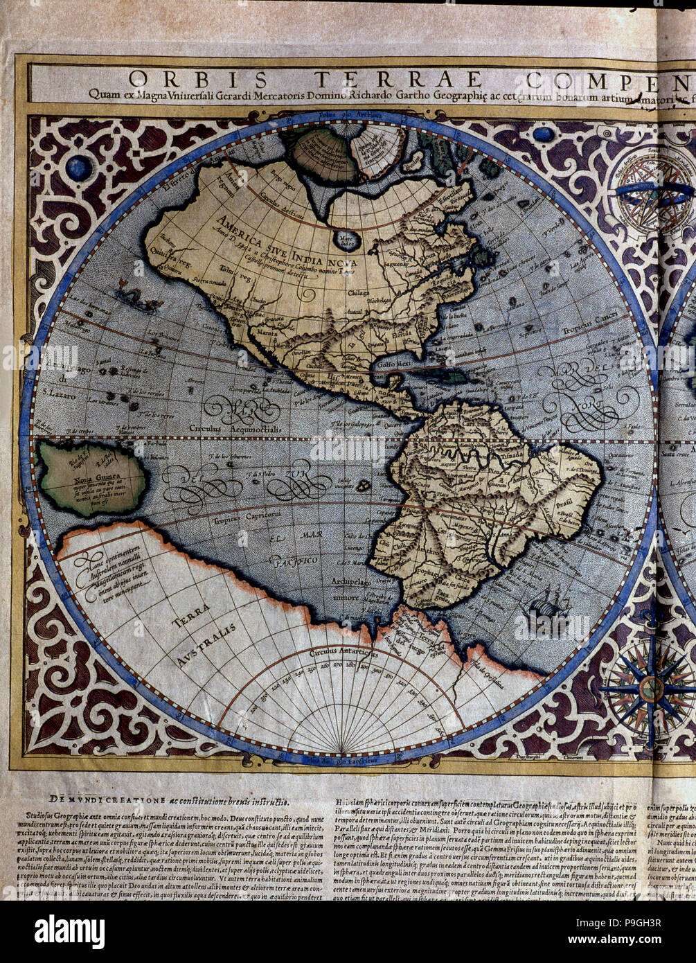 Atlas of Gerardus Mercator', 1595, map of the Americas and part of  Antarctica.