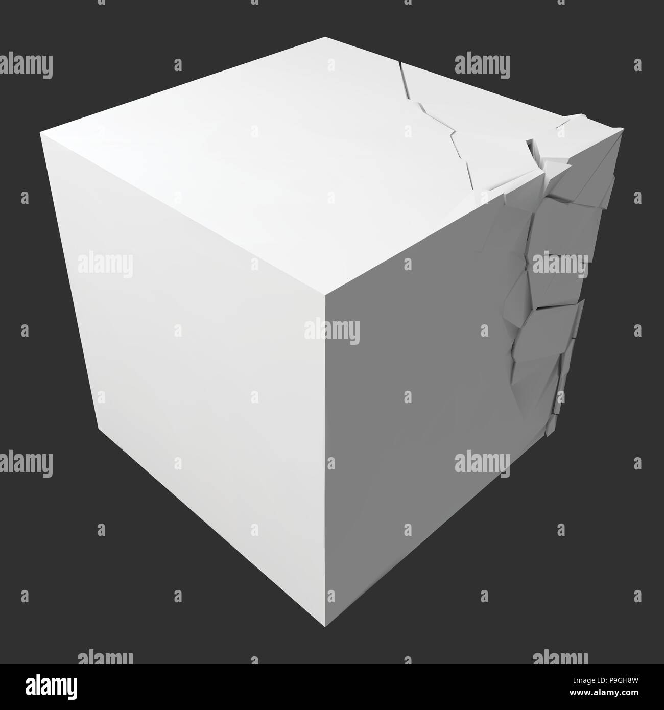 vector illustration of exploding cube - Stock Vector