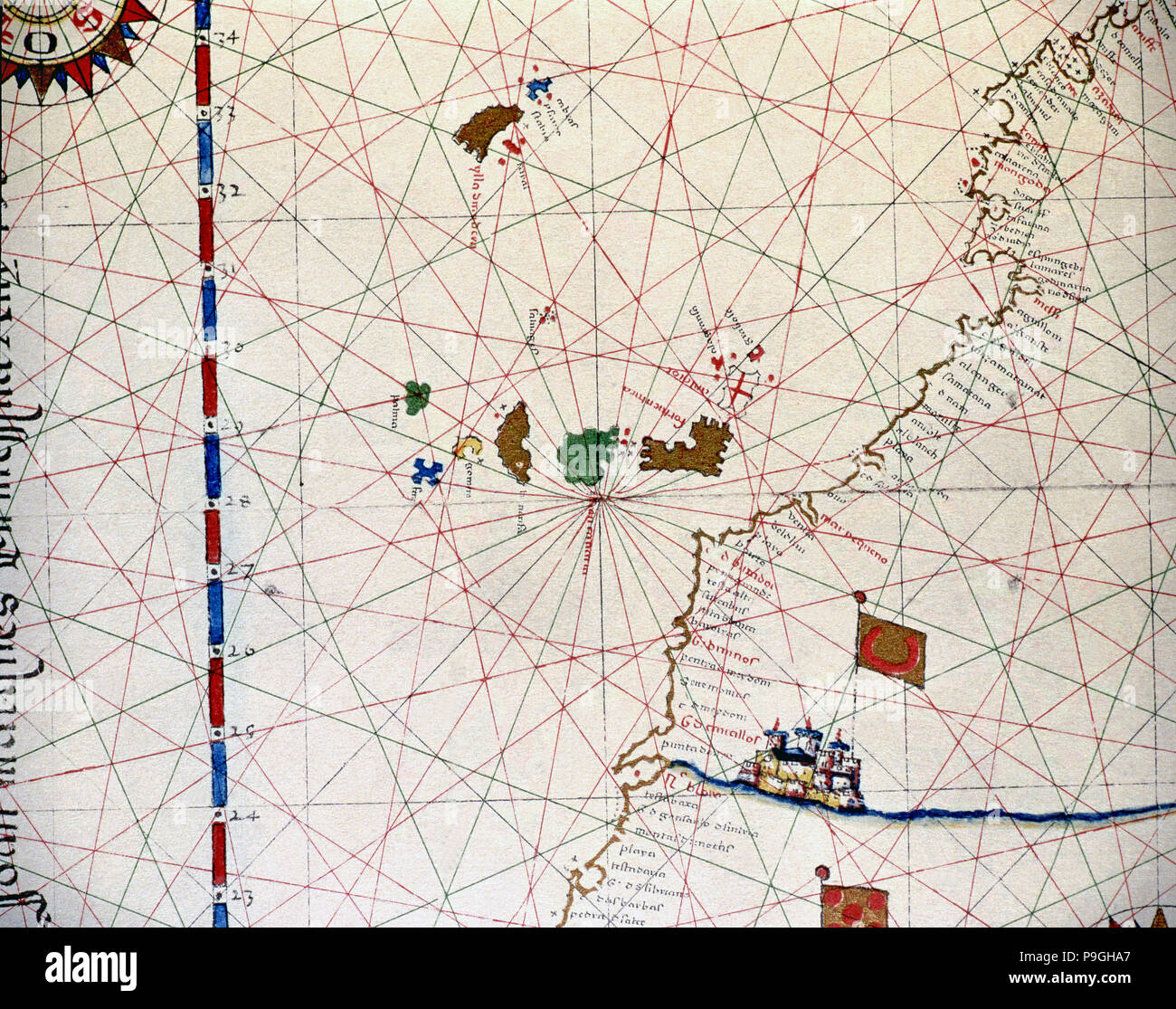 Atlas of Joan Martines, Messina, 1582. Portulan chart of the Canary Islands and the west coast of… Stock Photo