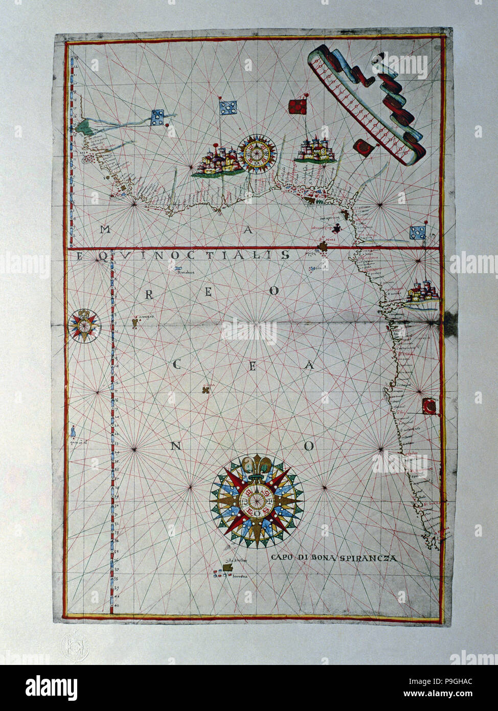 Atlas of Joan Martines, Messina, 1582. Portulan chart of the west coast of Africa, from the Gulf … Stock Photo