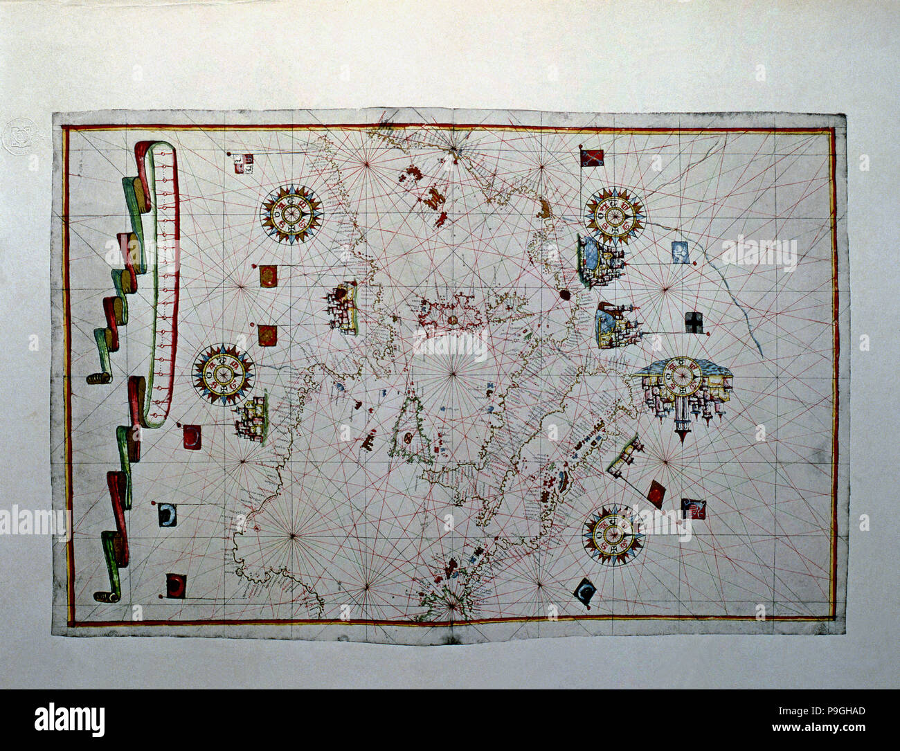 Atlas of Joan Martines, Messina, 1582. Portulan chart of the Mediterranean sea, with its islands,… Stock Photo