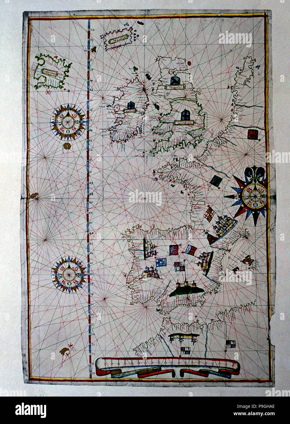 Atlas of Joan Martines, Messina, 1582. Portulan chart of Western Europe showing the Iberian penin… Stock Photo