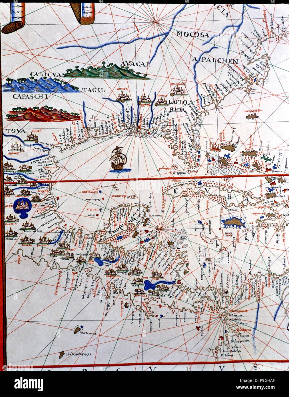 Atlas of Joan Martines, Messina, 1582. Portulan chart of Central America, Caribbean, Florida, Geo… Stock Photo