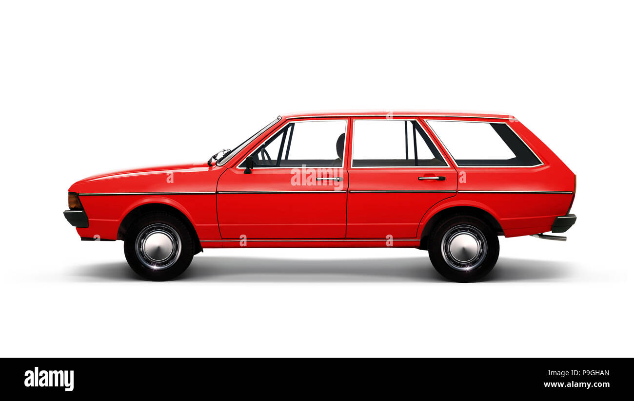 3D illustration of red retro car isolated on white background with path - Stock Image