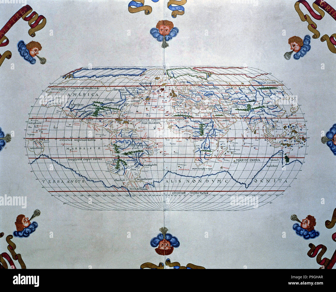 Atlas of Joan Martines, Messina, 1582. World map of the lands known in the 16th century. Stock Photo