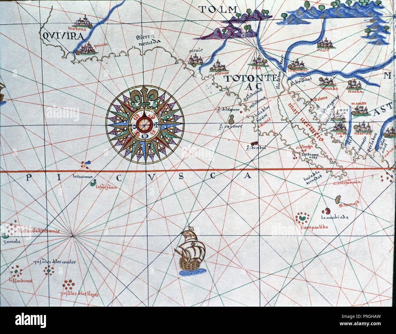 Atlas of Joan Martines, Messina, 1582. Portulan chart of Alta and Baja California and the Pacific… Stock Photo