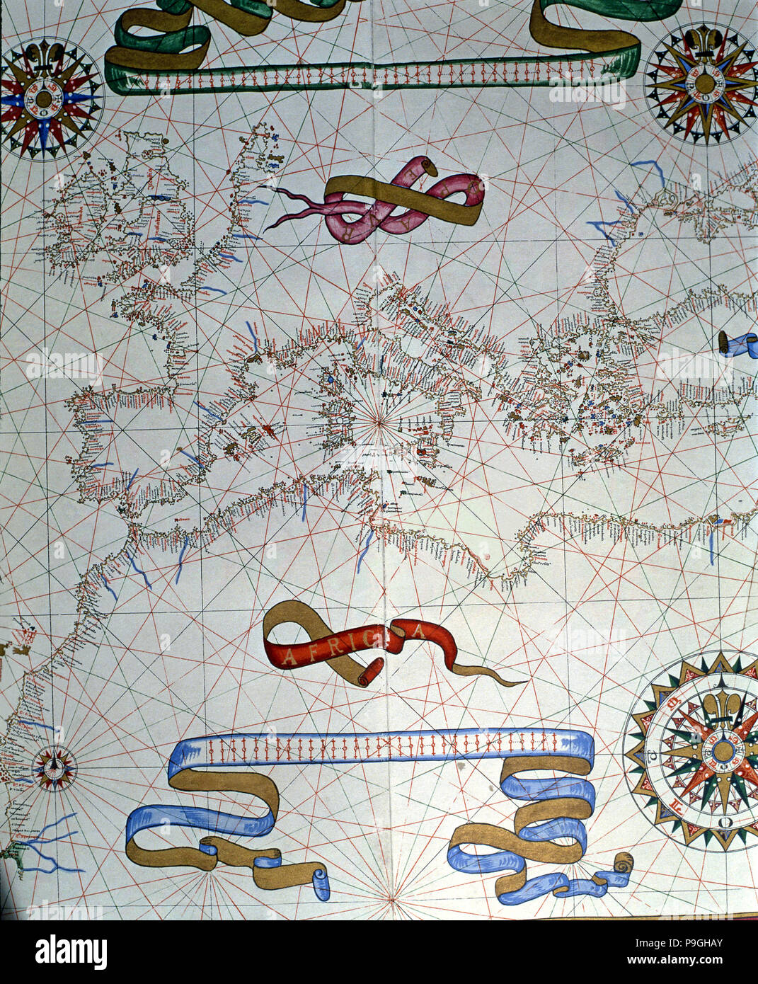 Atlas of Joan Martines, Messina, 1582. Portulan chart of southern Europe and coasts of North Africa. Stock Photo