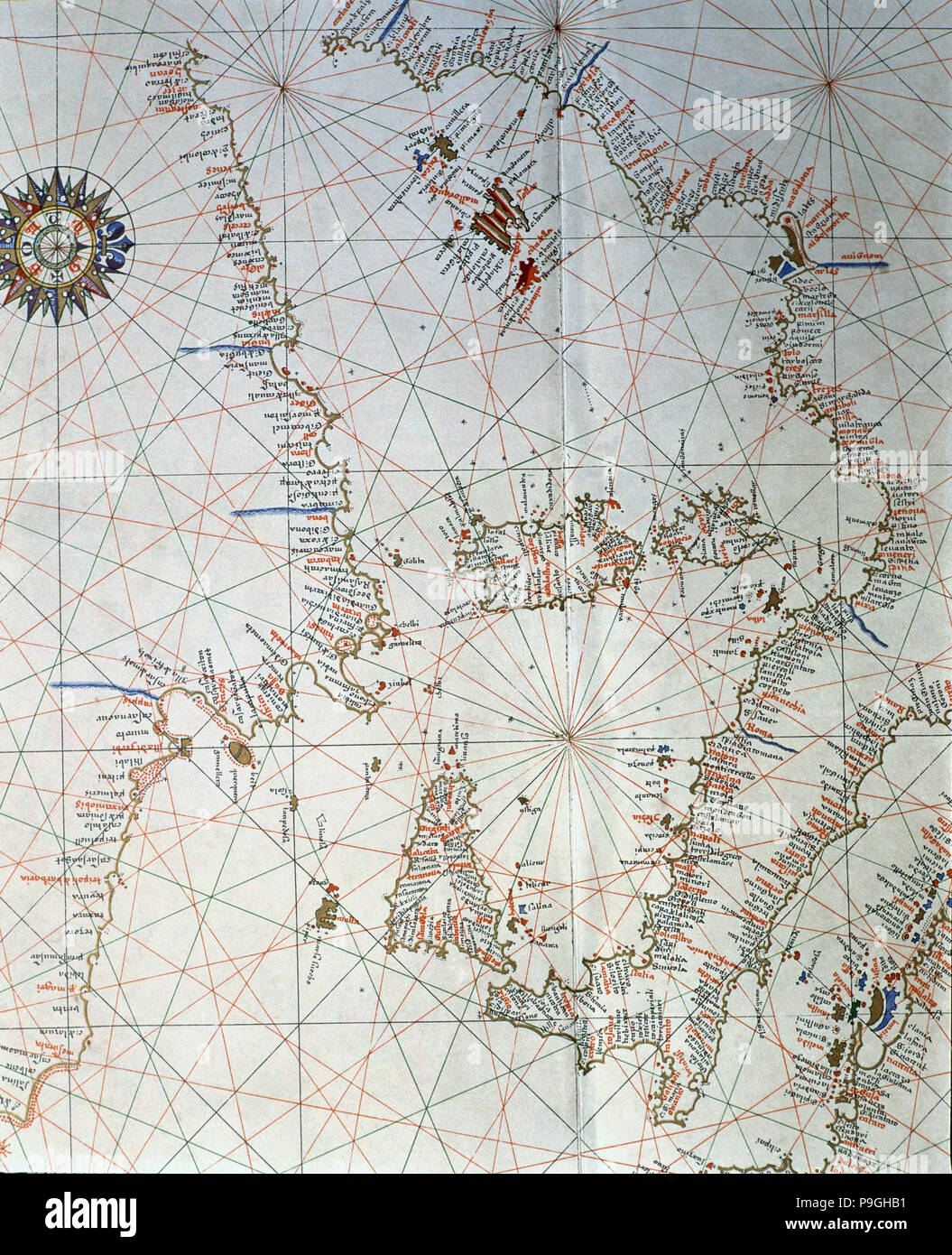 Atlas of Joan Martines, Messina, 1582. Portulan chart of the western Mediterranean, with Italy, E… Stock Photo
