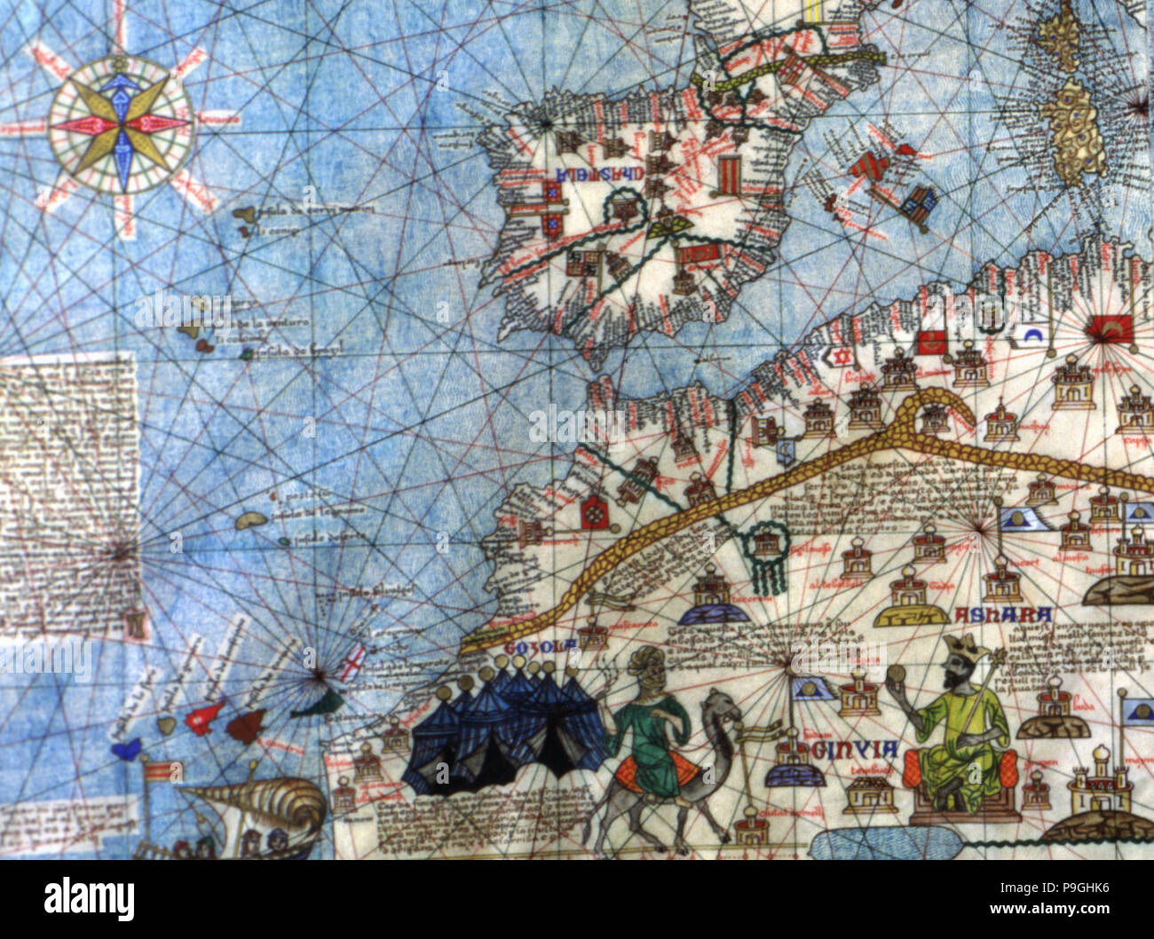 Catalan Atlas (1375).  Detail of Spain and North Africa. Reproduction of the original which is lo… Stock Photo