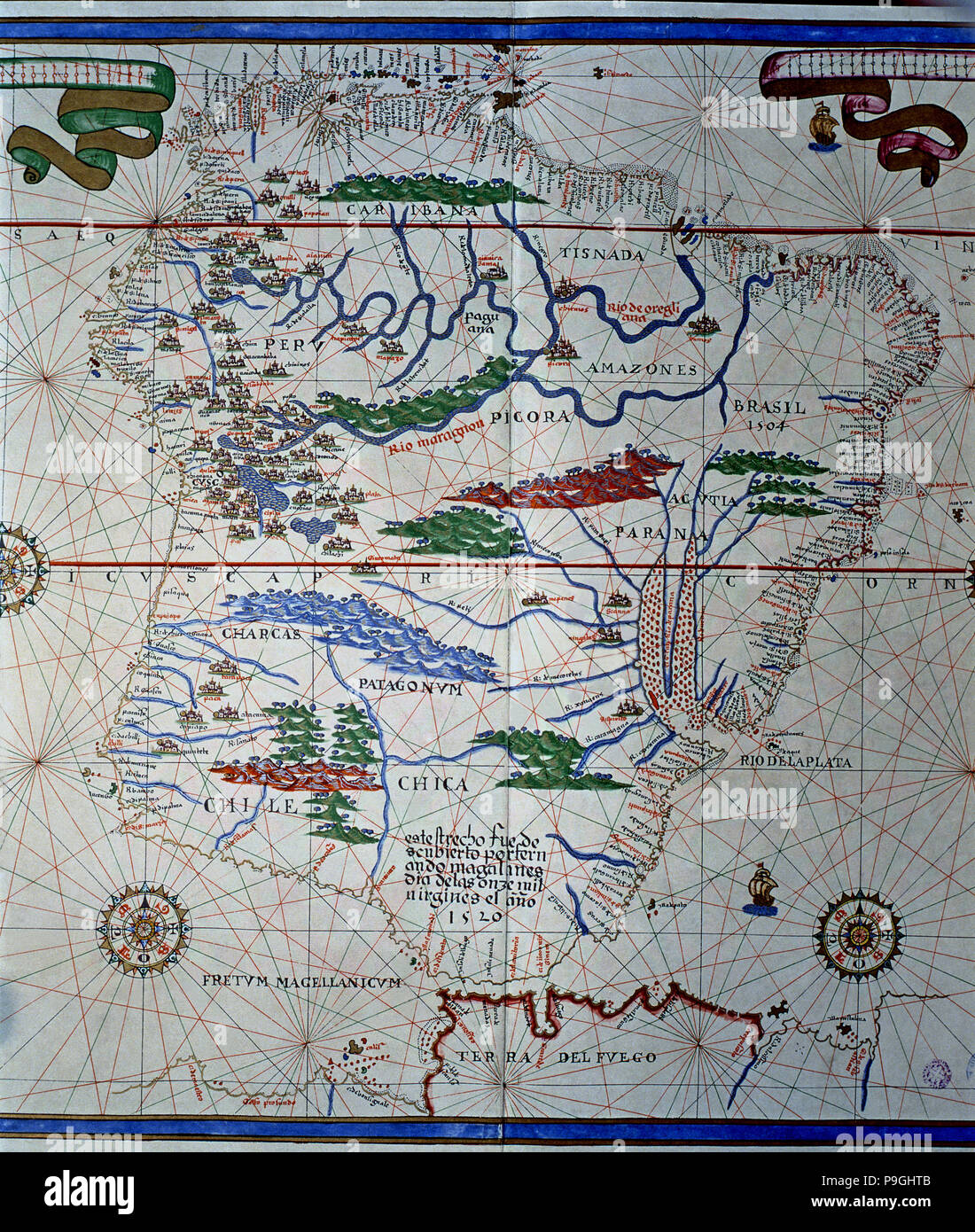 Atlas of Joan Martines, Messina, 1582. Portulan chart of South America, from Panama to Tierra del… Stock Photo