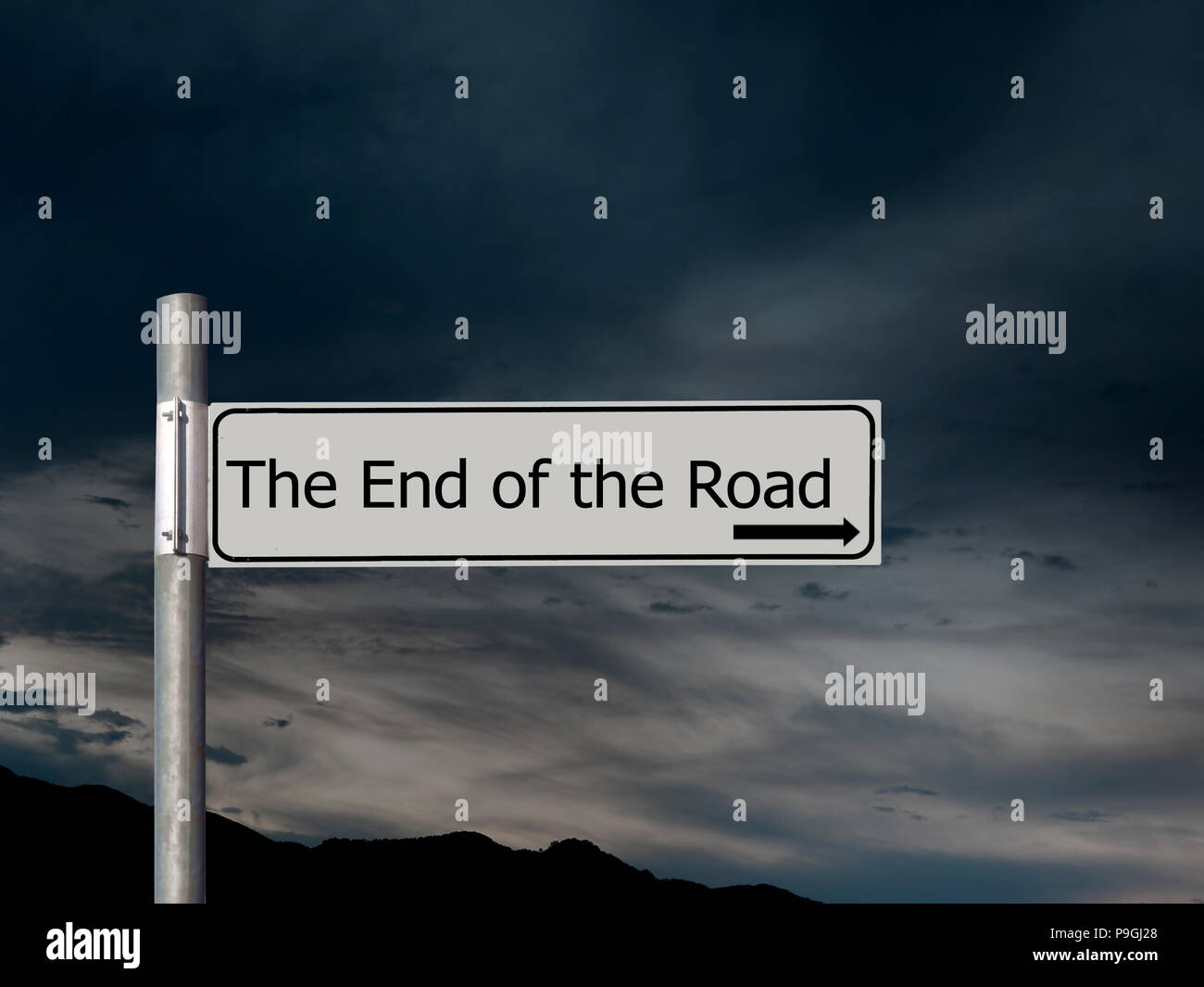 The end of the road, sign over dark, gloomhy cloud sky background. Concept, politics,, Brexit etc. - Stock Image