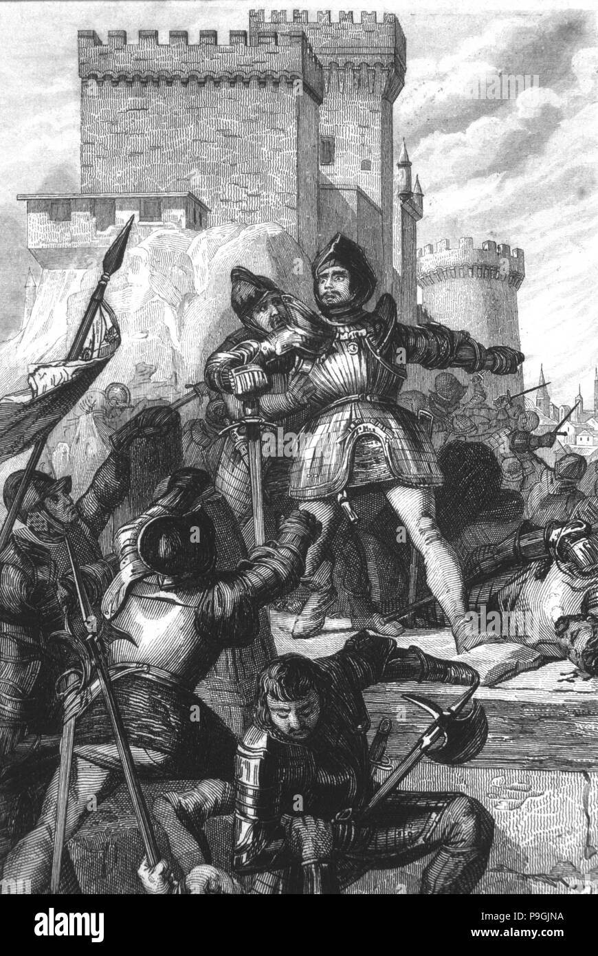 The Comuneros fighting in Toledo after the battle of Villalar (1521). - Stock Image
