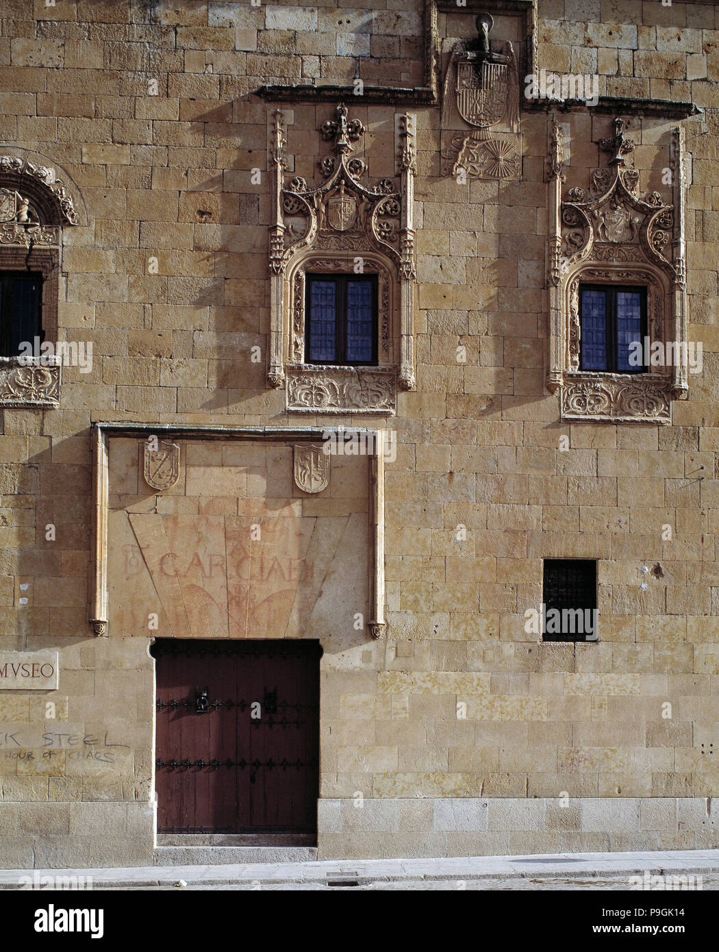 Detail of the façade of the Palace of Dr. Abarca Maldonado, now houses the museum of the city of Salamanca. - Stock Image