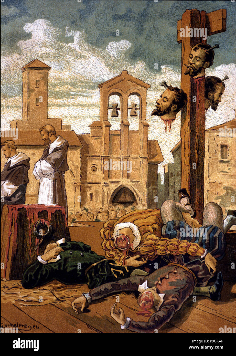 Execution in Villalar in 1521 of the three Comuneros leaders: Juan de  Padilla, Juan Bravo and Francisco Maldonado accused of treason to King  Charles V