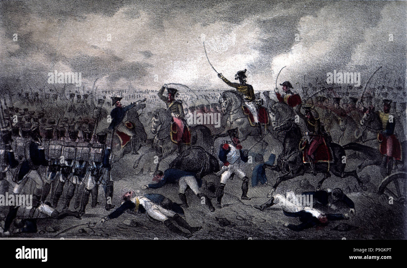 Juan Martín Díez 'El Empecinado' (the Undaunted) defeats a column of French soldiers in the Battle of Retortillo, Spanish War of Independenc - Stock Image