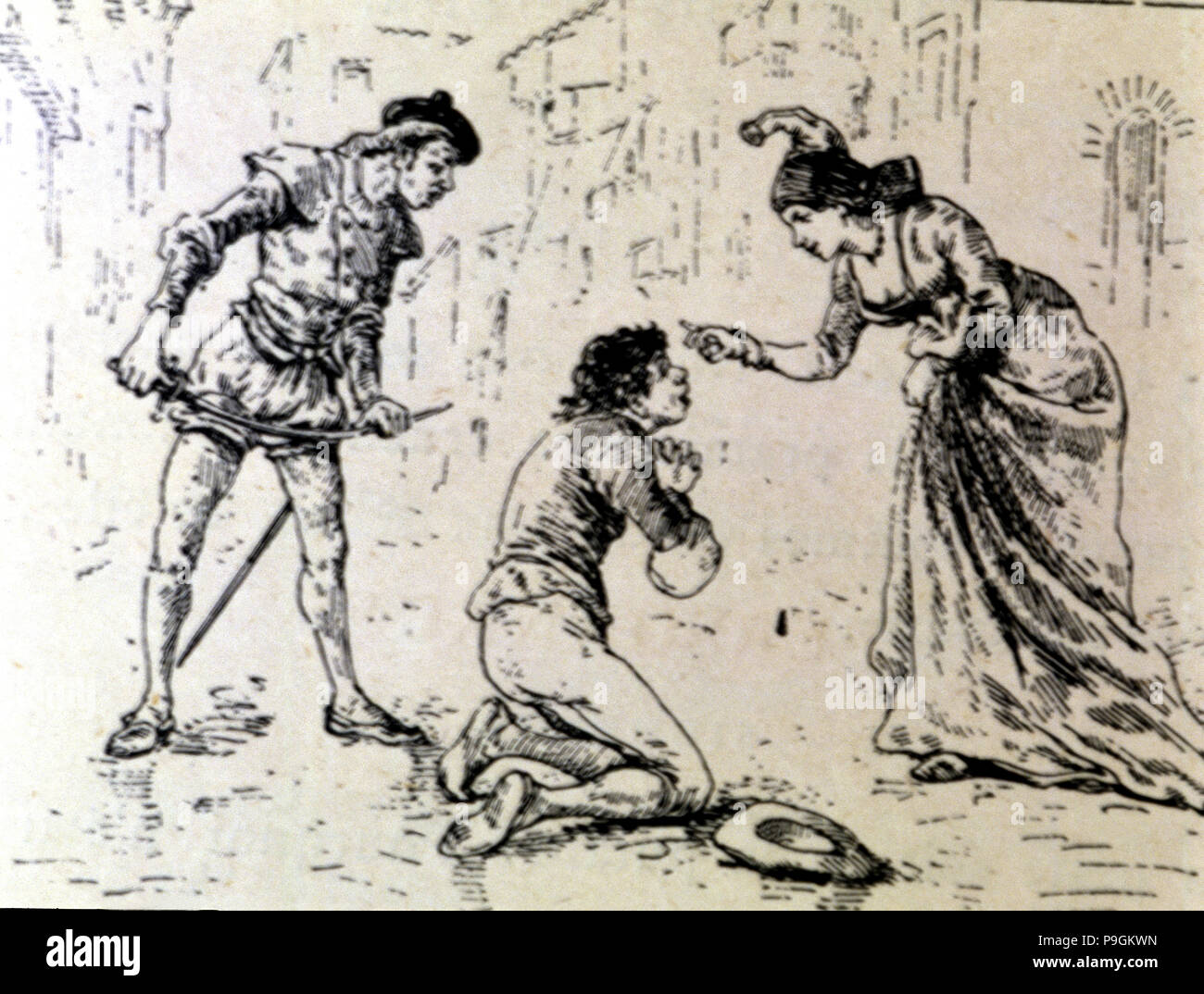 Engraving, a poor before a lady in an edition of 'La Comedie Espagnole' by Lope de Rueda, 1883. - Stock Image