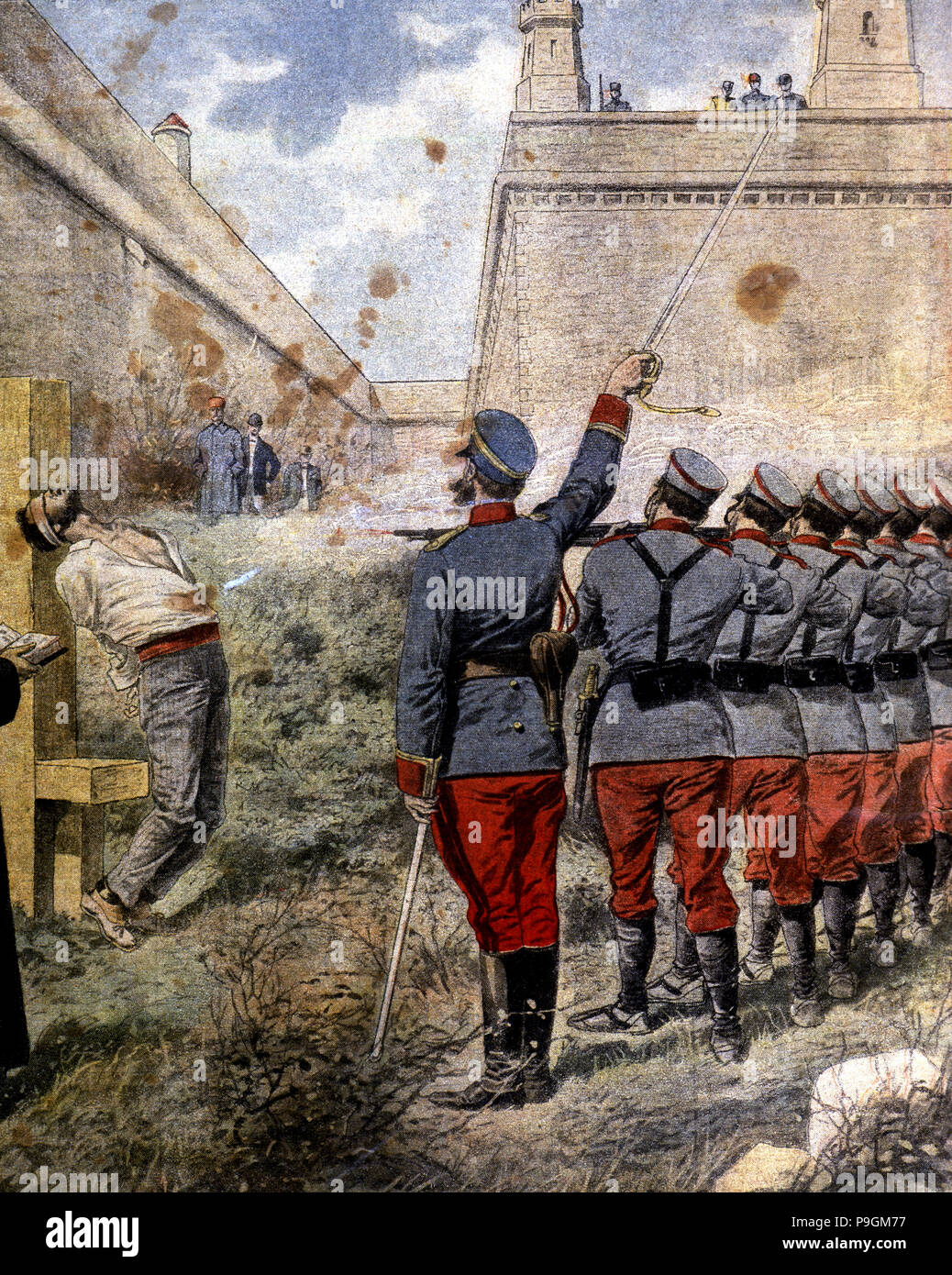 Execution of insurgents in the moats of the Castle of Montjuic, convicted by sacking the churches… Stock Photo