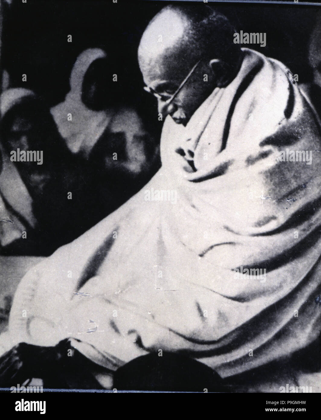 Mohandas Karamchand Gandhi, known as Mahatma (1869-1948), architect of the Indian independence, Indian politician and thinker in his last fast in 1948 - Stock Image