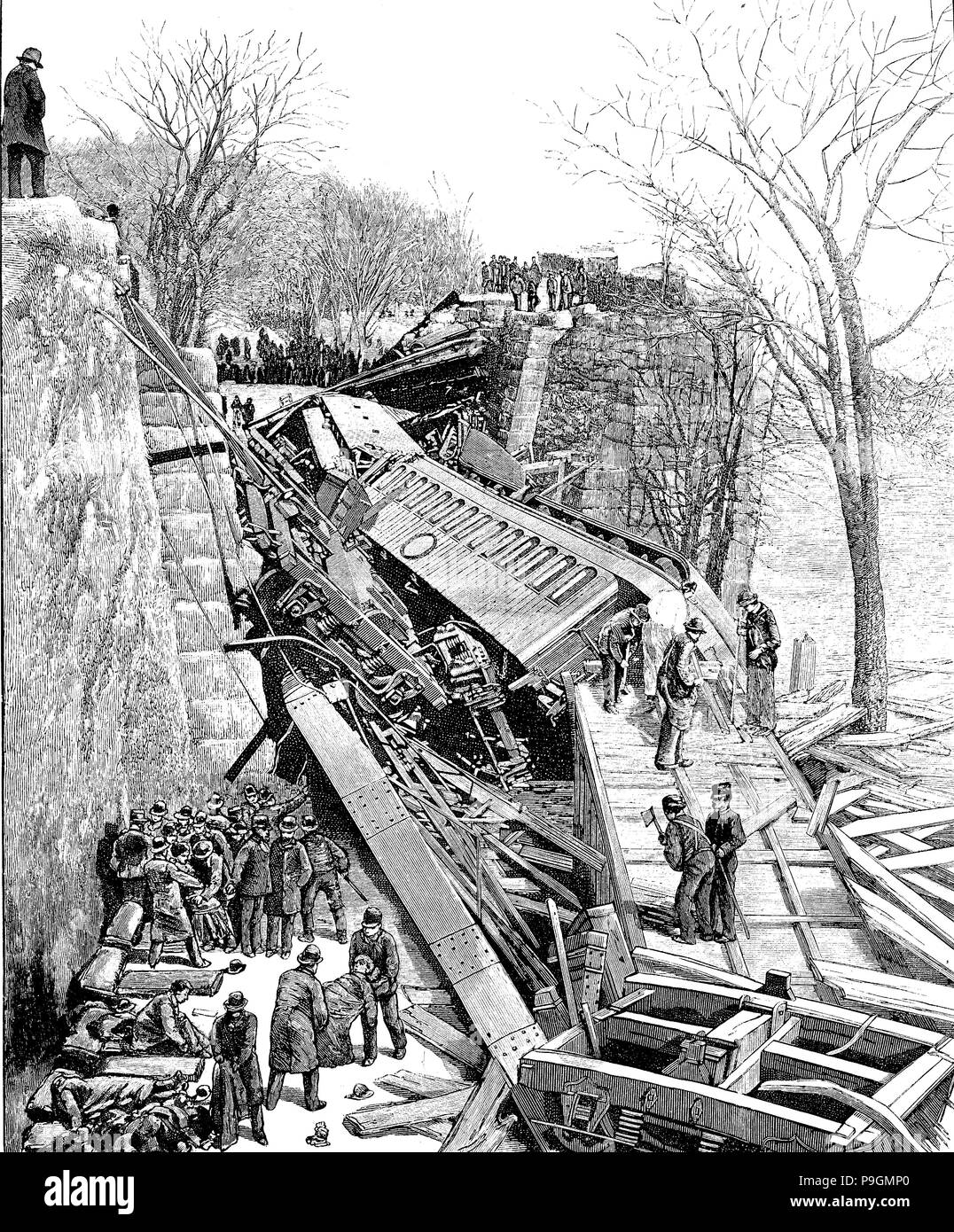 Chatsworth rail disaster, near Niagara Falls, with more than 200 people dead and 300 injured, occurred in August 1887, engraving of the time. - Stock Image