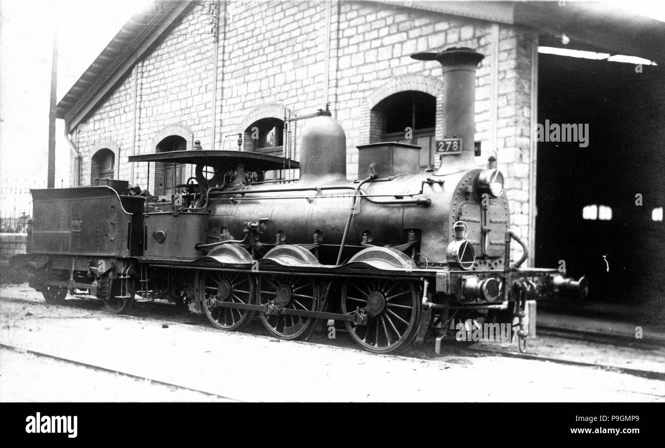 Steam engine number 278 built by Kitson at Leeds, England, system of inner cylinders and three coupled axles, construction date of 1858, type K.M. - Stock Image