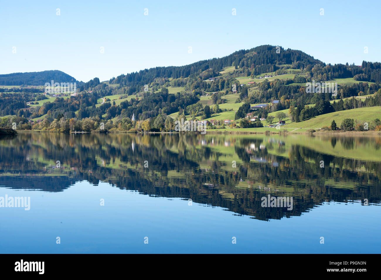 Niedersonthofener See with reflection Stock Photo