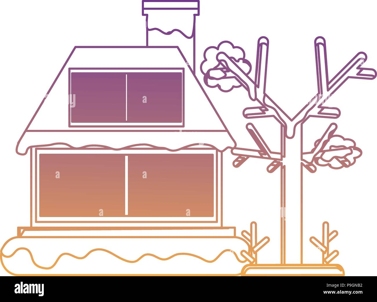 cabin house with snow and tree icon over white background, vector illustration - Stock Vector