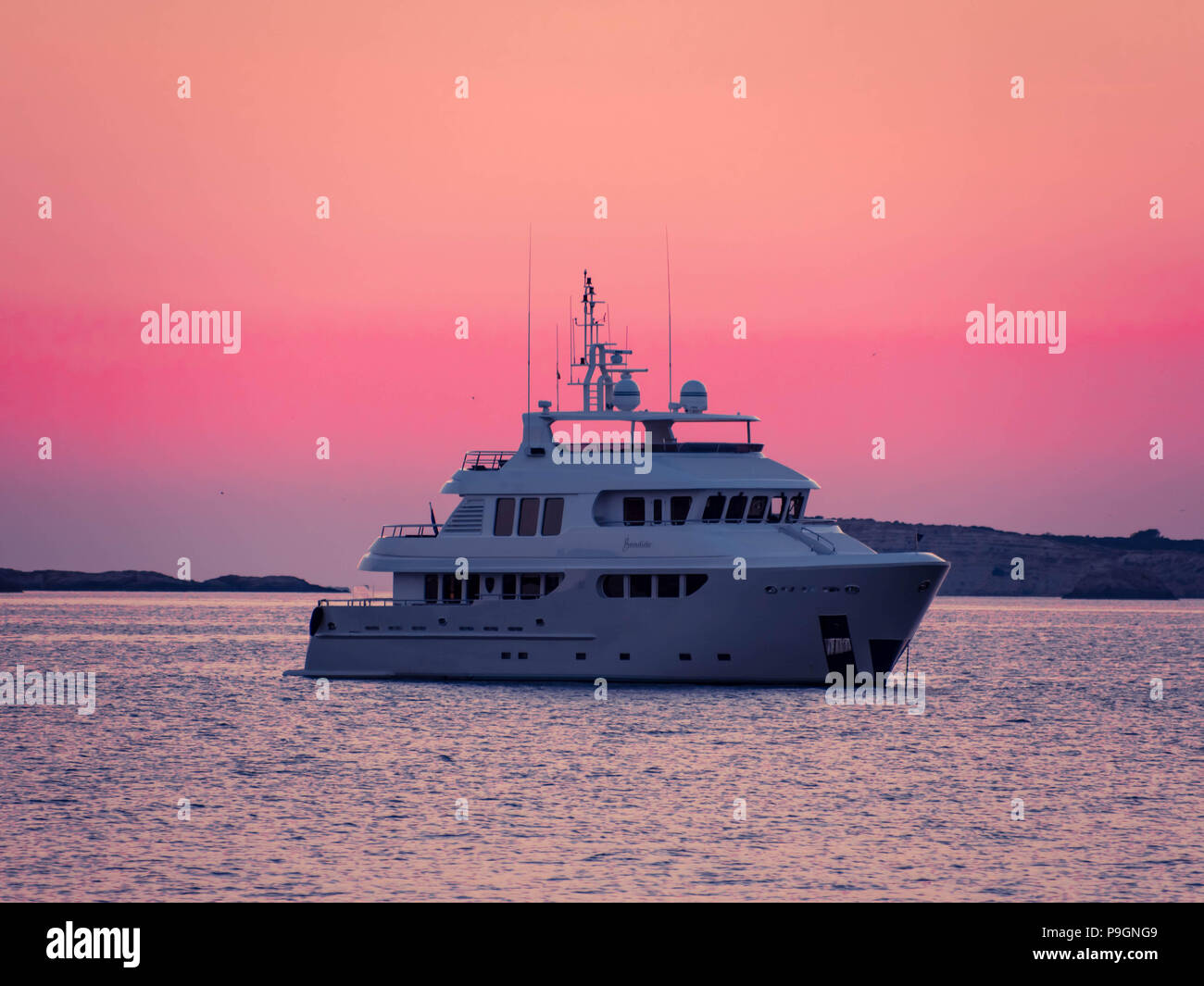 The Super yacht Badido 90 at anchor in San Antonio Bay, Ibiza, Balearic Islands, spain Stock Photo