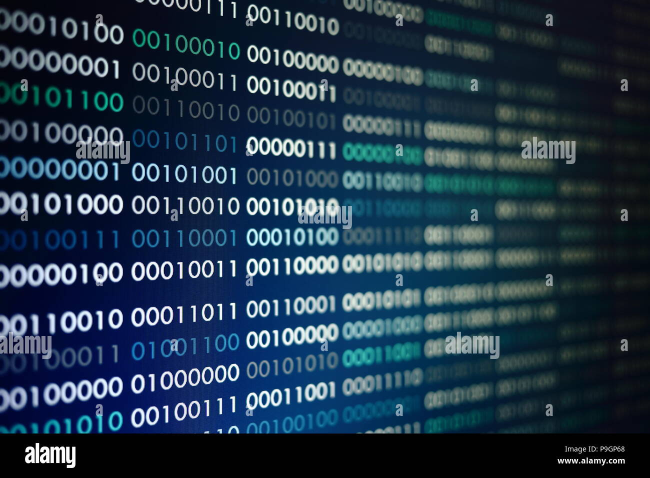 blue screen binary code. big data concepts working in cyberspace environment. data transfer going well - Stock Image