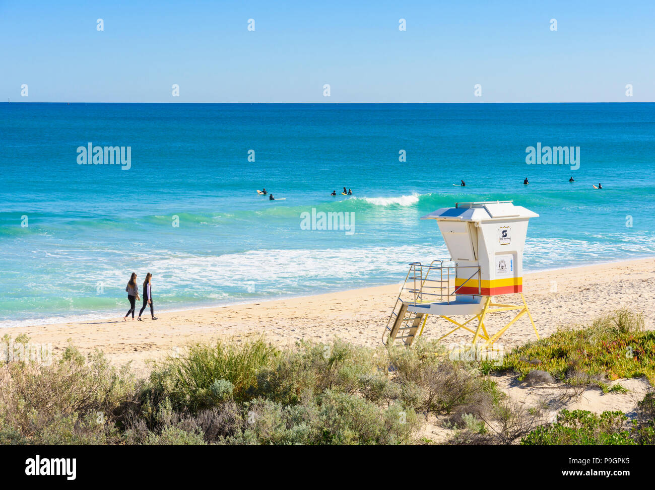 Surfers at Scarborough Beach, Perth, Western Australia - Stock Image