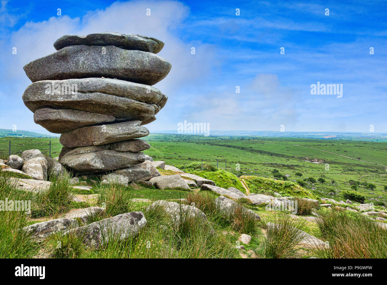 The Cheesewring, a granite tor on Bodmin Moor, near the village of Minions, Cornwall, UK - Stock Image