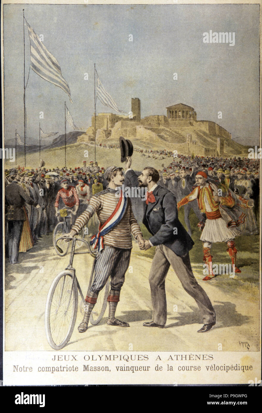 First Olympic Games of the modern era in Athens in 1896, the French Masson was the winner of the cycling race. Illustration from 'Le Petit Journal'. - Stock Image