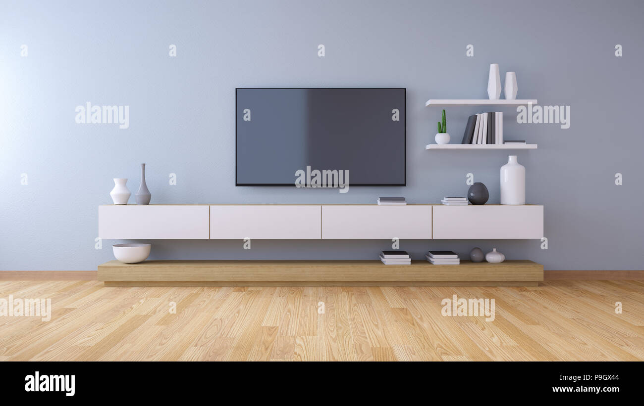 TV Cabinet , Modern Interior Of Living Room Design And Cozy Living Style  ,3d Illustration