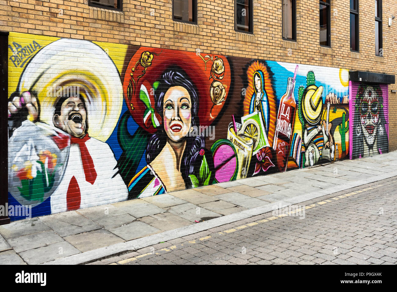 Mexican art work / graffiti on the wall, Bold Street, Liverpool, UK - Stock Image