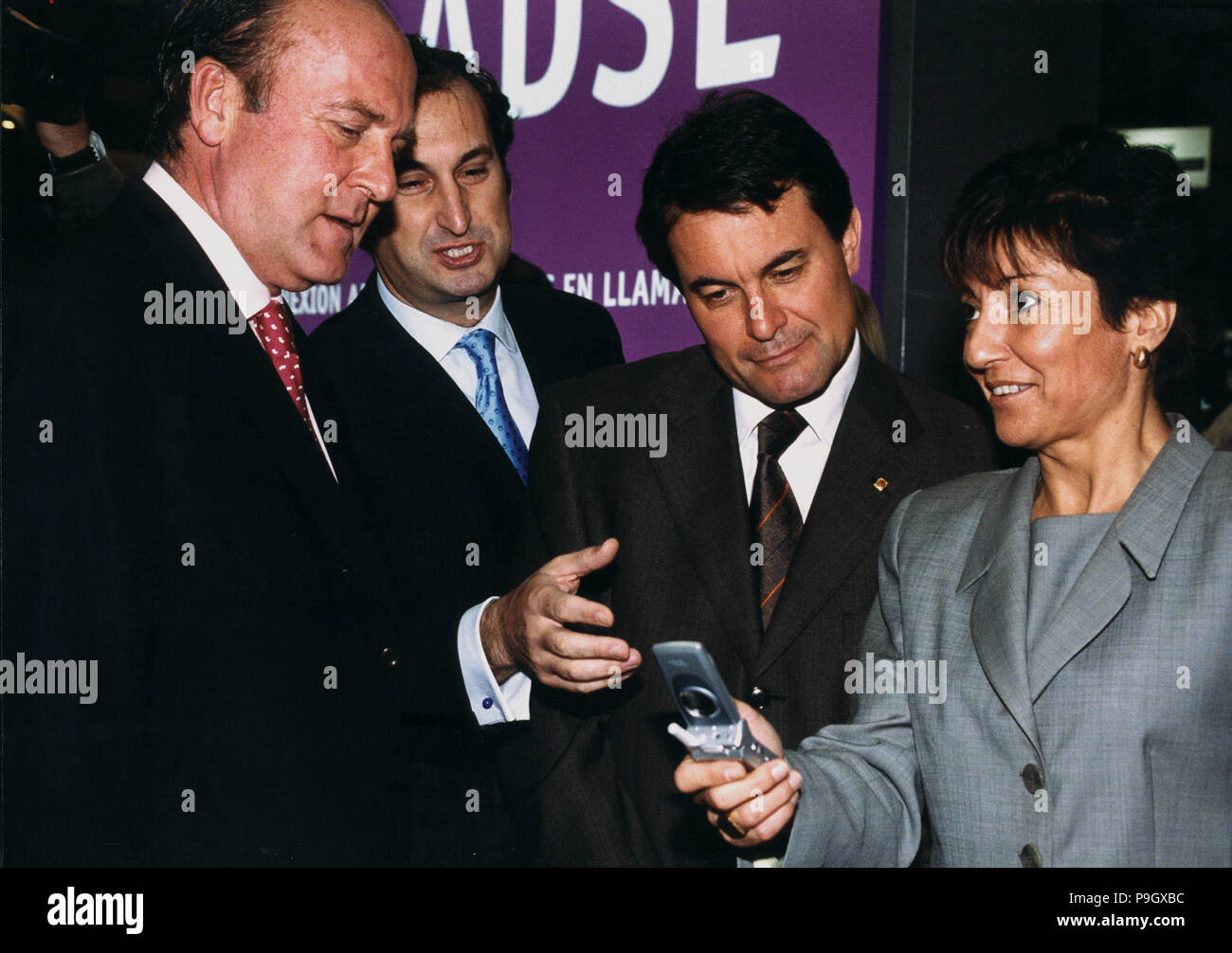 Ana Birulés i Bertran (1954 -). Spanish politician, Minister of Science and Technology, with Artur Mas and Enric Lacalle. - Stock Image