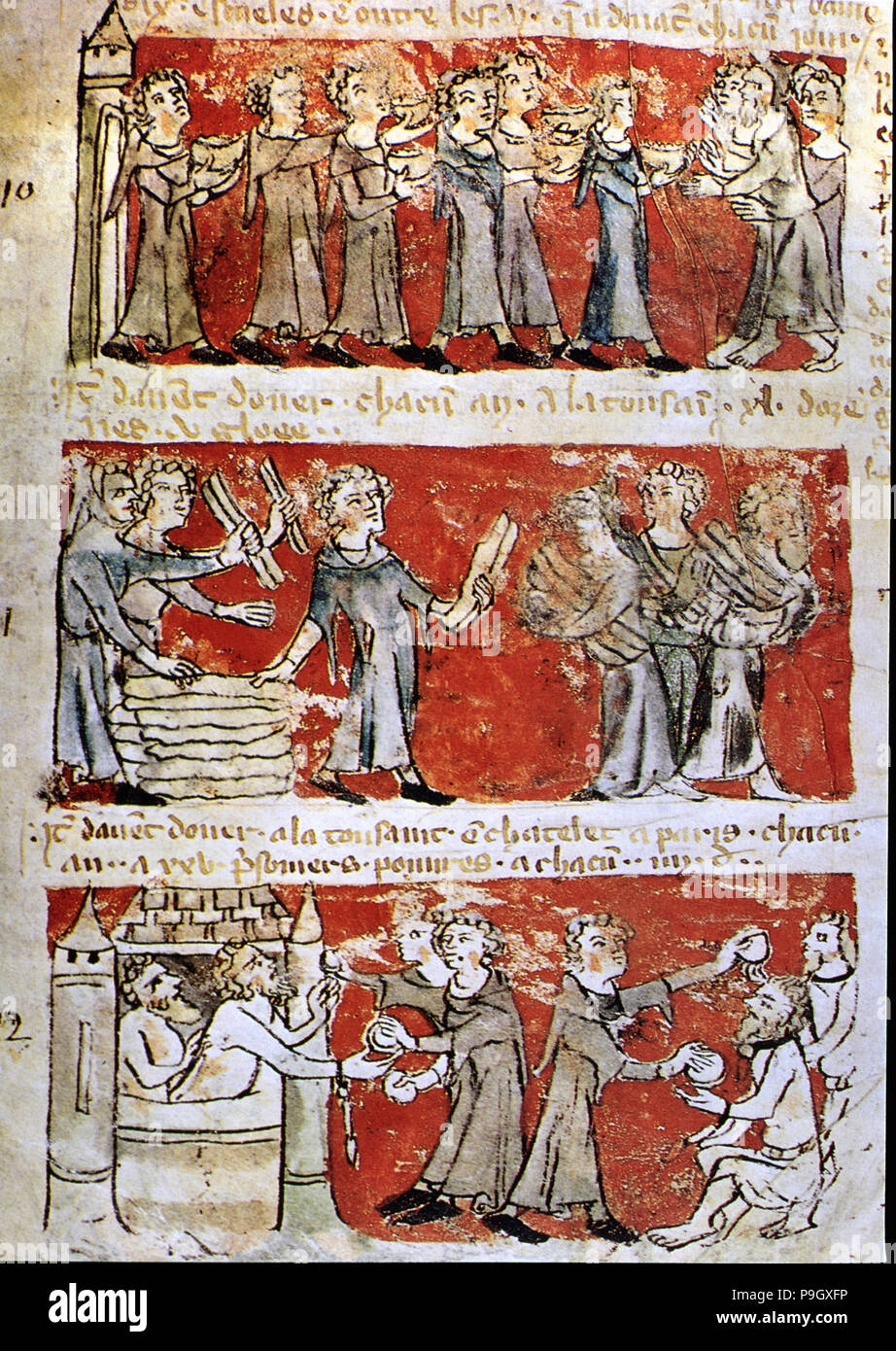 Scene of daily life at the College Hubaut of Paris (Sorbonne), 14th century miniature. Stock Photo