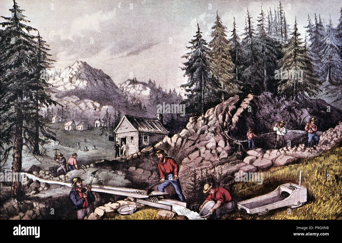The Gold Rush (1848), gold mine in California, near Sutters Mill, engraving, 1870. - Stock Image
