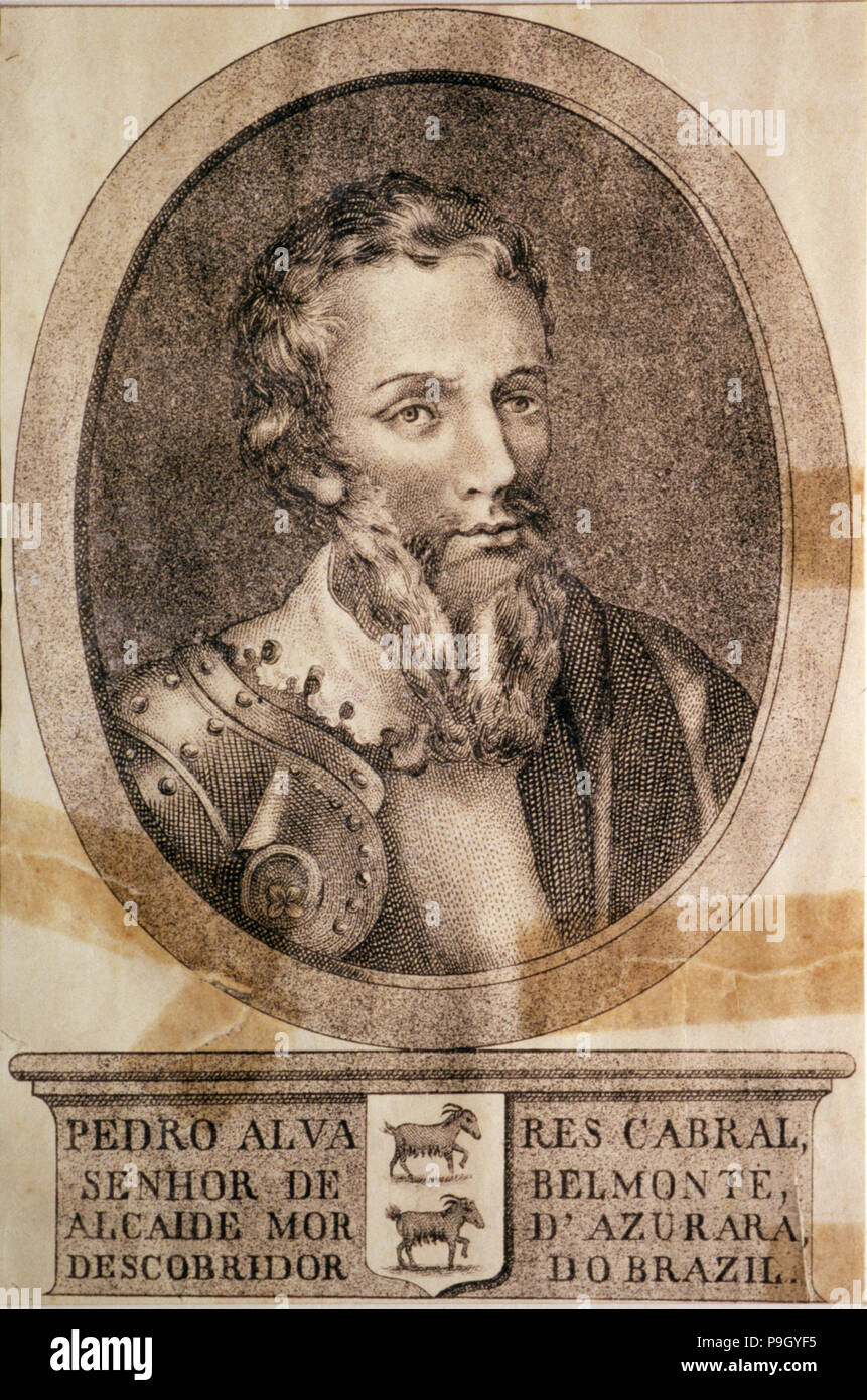 Pedro Alvares Cabral, lord of Belmonte (1460-1526), ??Portuguese navigator who discovered Brazil. Portrait in armor, reproduction of an engraving. - Stock Image