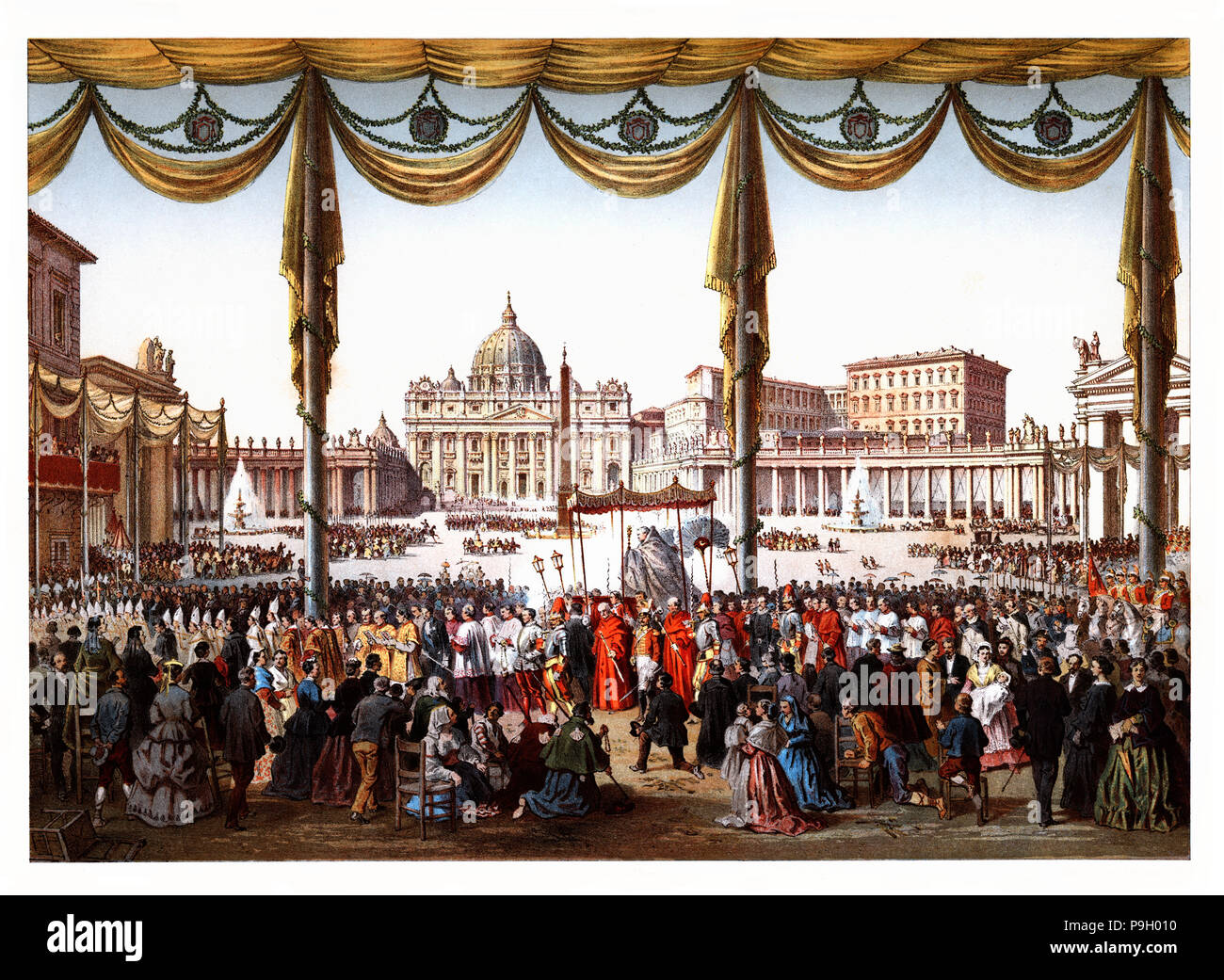 Pontifical ceremonies. Procession of the Holy Sacraments in Saint Peter's square. Color engraving from 1871. - Stock Image