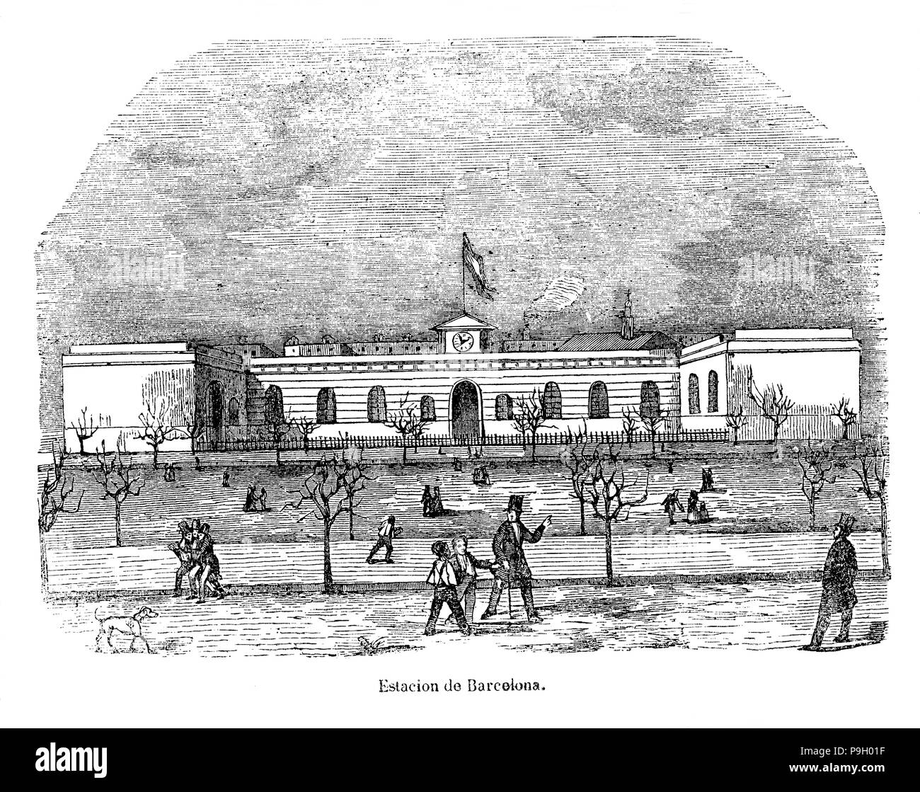 Station of Barcelona of the railway line of Mataró in 1849, vintage engraving. Stock Photo