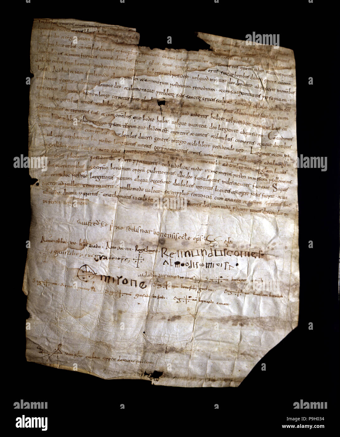Donation of Count Ramon Berenguer I and his second wife Almodis to the Seu of Barcelona from the church of Sant Miquel, near Barcelona, parchment, 105 - Stock Image