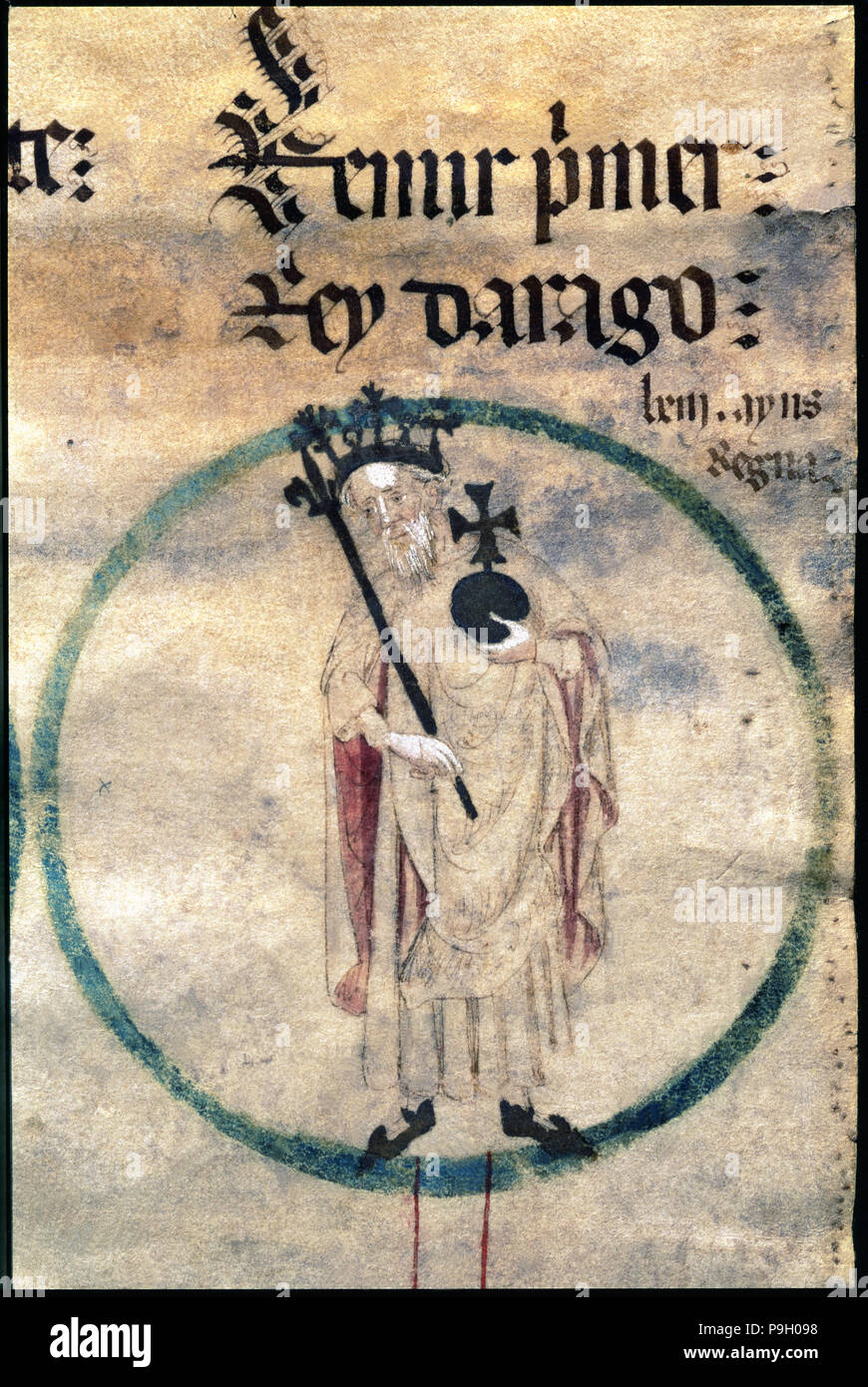 Ramiro I, (1000-1063), king of Aragón, count of Sobrarbe and Ribagorza, natural son of Sancho the Major of Navarra, miniature in a 15th century p - Stock Image