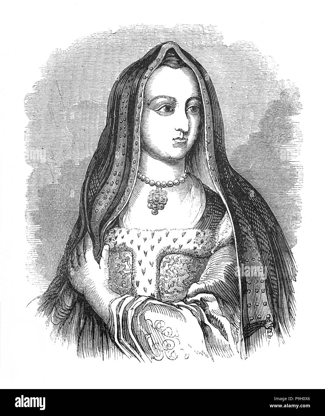 Elizabeth of York (1466 – 1503) was the wife of Henry VII and the first Tudor queen. The daughter of Edward IV and niece of Richard III, she married Henry in 1485, following the latter's victory at the Battle of Bosworth Field, which started the last phase of the Wars of the Roses. Together, she and Henry had a total of four sons, three of whom died before their father, leaving their brother, Henry VIII, to succeed his father as king. - Stock Image