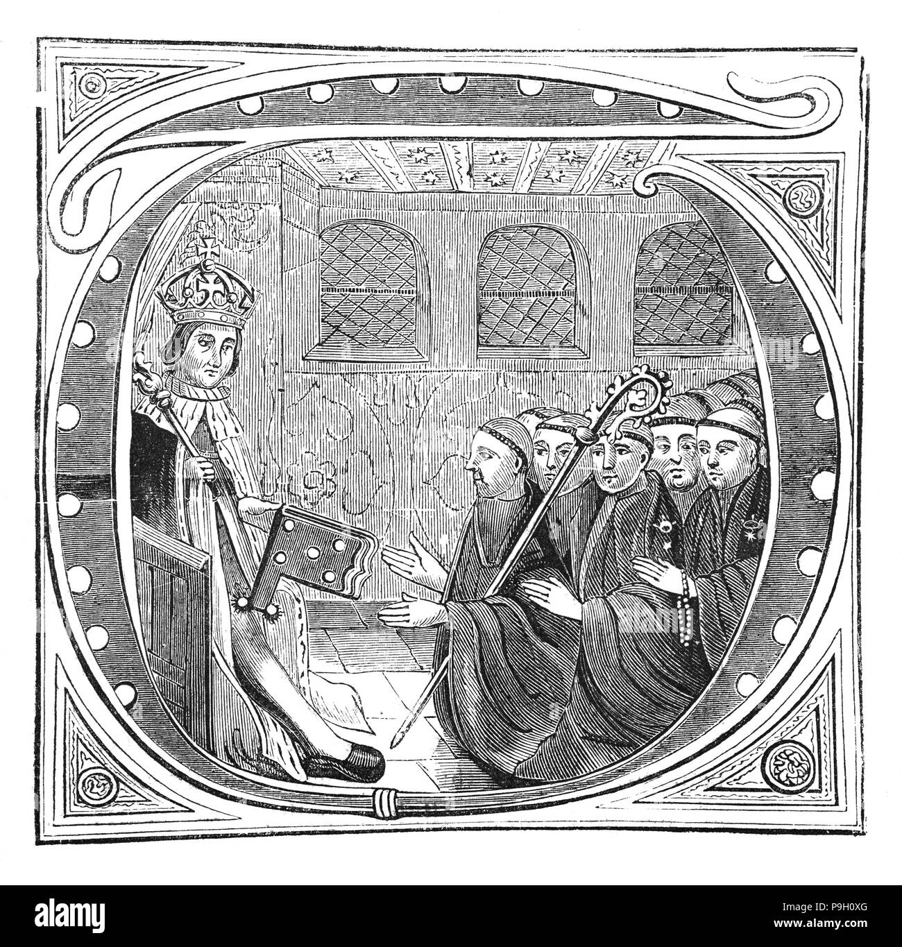 John Islip (1464–1532) was abbot of the monastery of Westminster, London. He was 36 years old he was made abbot on 27th October 1500 and was a friend of both Henry VII and Henry VIII, becoming a Privy Councillor. Seen here  in the early 16th Century, receiving from King Henry VII the Book of Independence which specified the number of masses on the occasion of a Royal Death. - Stock Image