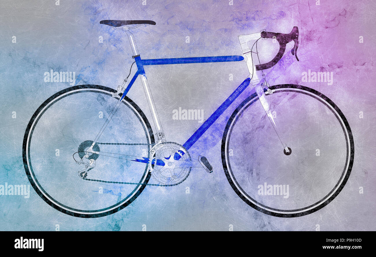Digitally enhanced image of a sports bicycle - Stock Image