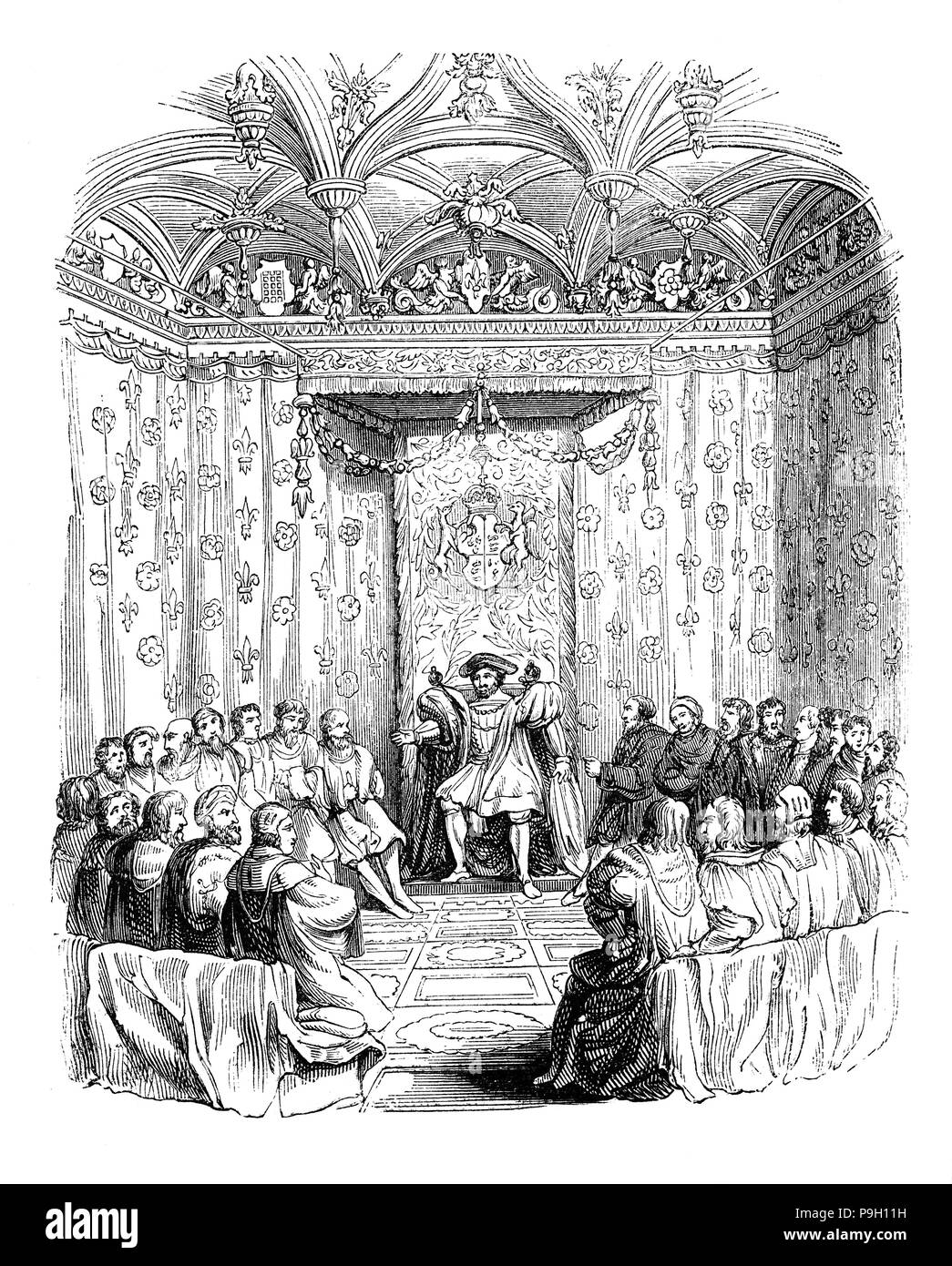 King Henry VIII at a meeting of the Privy Council, a group of men who were advisers to the King. It included a variety of men including those from the religious sector to very important state offices. After 1540 the 19 members of the Privy Council worked together as a board having letters and warrants signed collectively by them. They sat virtually every day and within it Court and State became as one, for the Privy Council met almost exclusively at Court after the reconstructions of 1536-7 and 1540. It also sat judicially as the Court of Star Chamber on Wednesdays and Fridays. - Stock Image
