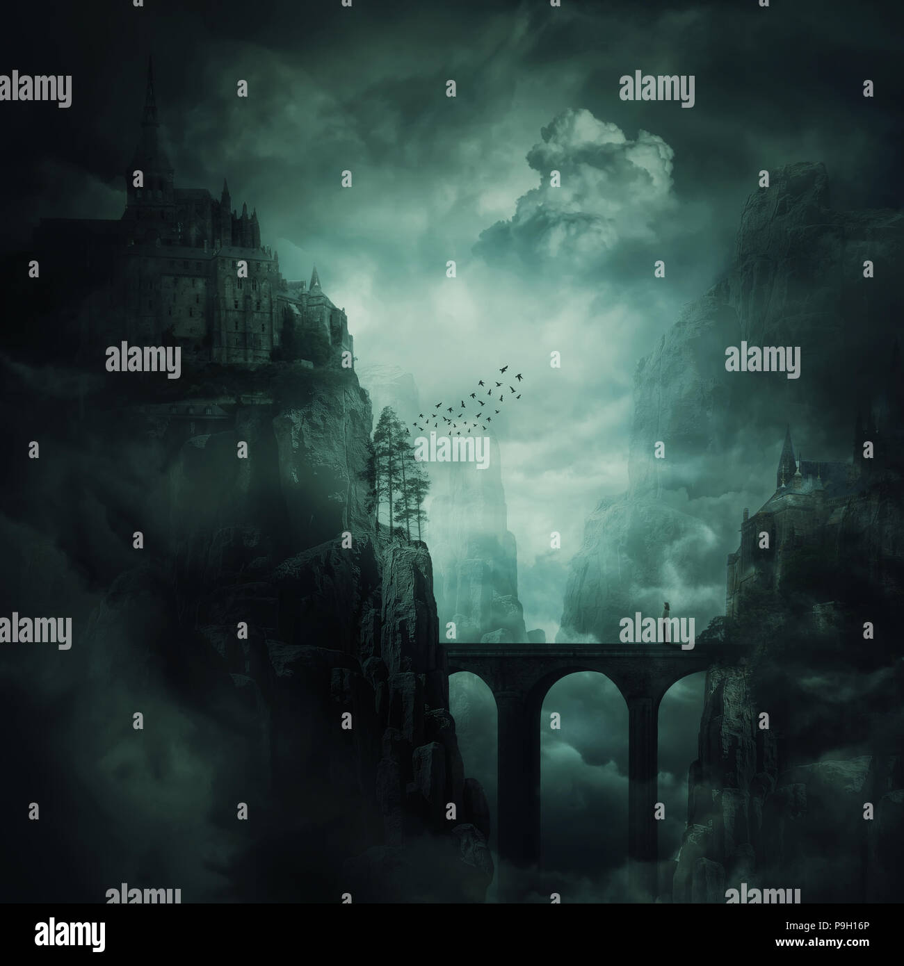 Surreal view as a lonely girl stand on a stone bridge surrounded by dark mountain cliff with castle and old buildings on the top. The forgotten kingdo - Stock Image